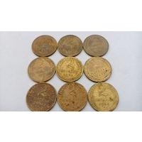 Лот монет до реформы , 2 копейки , 9 штук .