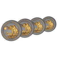 """RARE Сомали 200 шиллингов 2016г. """"Слоны набор 2 oz; 1 oz; 1/2 oz; 1/4 oz. Golden Enigma Premium """". Монета в капсуле; подарочном футляре; номерной сертификат. СЕРЕБРО 116,75 гр. (3,75 oz)."""