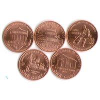 Набор 1 цент США 2009 год Жизнь Линкольна (5 шт.)