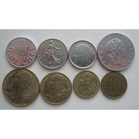 Сборный лот европейских монет разных годов - 8 шт.