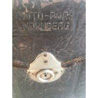 """Довоенный кожаный чехол  от  немецкого фотоаппарата с чёткой  надписью """"Нюрнберг"""". Целый-готов к работе"""