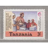 125 лет Международному Красному Кресту и Красному Полумесяцу Танзания 1988 год лот 1062 ЧИСТАЯ