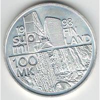 Финляндия 100 марок 1998 года. Серебро. Штемпельный блеск! Соcтояние UNC! Редкая!