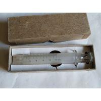 WWII.Старинный стеклянный шприц B-D,производство США,в оригинальной картонной коробке.