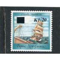Папуа Новая-Гвинея. Парусник. Надпечатка 1.20К на 40Т