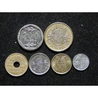 Испания 1,5,10,25,100,200 песет 1986-99г
