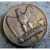 Италия. 5 лир 1929 г.