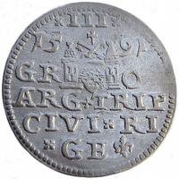 Рижский трояк/ 3 гроша/ трехгрошовик/ 3 Grossus 1591 года, редкий (R1), каталог Игера R.91.1, м.д. Рига, Жигимонт III