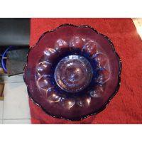 Цветное стекло. Конфетница, фруктовница 21*7 см.