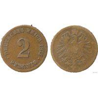 YS: Германия, Рейх, 2 пфеннига 1875B, KM# 2
