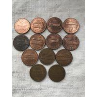 США 1 цент 1957-2017., сборная солянка монет 13 шт.