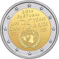 2 Евро Португалия 2020  75 лет Организации Объединенных Наций UNC из ролла
