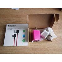 Зарядное устройство Orico WHA-2U на 2 порта розовое + дата-кабель Orico USB-C
