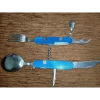 Туристический раскладной нож с вилкой и ложкой