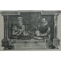 Географы Меркаторъ и Гондиусъ.    15х10см.