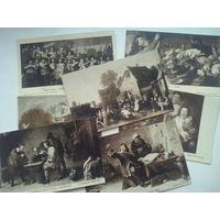 Старые открытки, живопись, Европа, 7 шт, цена за все