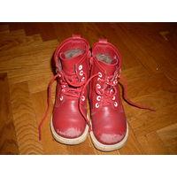 Зимние ботиночки из натуральной кожи 25 р. мех шерстяной, красные