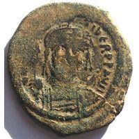 ВИЗАНТИЯ. МАВРИКИЙ ТИБЕРИЙ (582-602 г.) КОНСТАНТИНОПОЛЬ. 586 год. АЕ ФОЛЛИС.