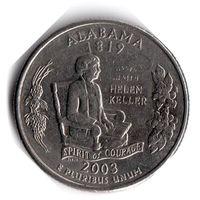 США. 1/4 доллара (1 квотер, 25 центов). 2003. Алабама. D