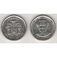 Ямайка km189 1 доллар 2008 год (новый тип) (круглая) (al)(f16)