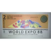 2 доллара (Экспо - 1988 года) - Австралия - UNC