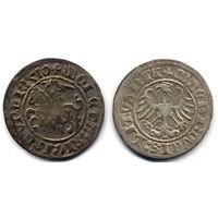 Полугрош 1510, Жигимонт Старый, Вильно. Окончания легенд: Ав - ':1510', Рв - 'LITVANIE'. Патина, коллекционное состояние
