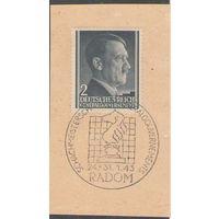 3 рейх Вырезка из конверта с почтовой маркой Гитлер и спецгашением Шахматы 1943 год