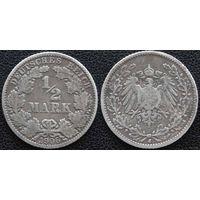YS: Германия, Рейх, 1/2 марки 1906J, серебро, КМ# 17