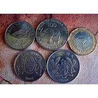 Монеты Африки. 5 монет - 5 стран. 1984 - 2017 г.