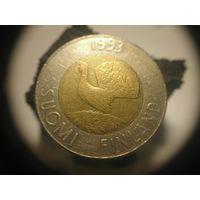 Финляндия 10 марок 1993 биметалл птица фауна Глухарь