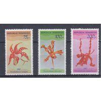 [127] Индонезия 1980.Флора.Цветы.Орхидеи. 3 МАРКИ+БЛОК.