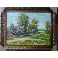 """Картина маслом""""Весной в деревне"""""""