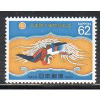 Птица Япония 1990 год чистая серия из 1 марки
