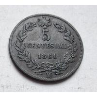 "Италия 5 чентезимо, 1861 ""M"" - Милан 2-8-17"