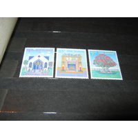 Новый год и Рождество, праздники, марки. Новая Зеландия, 1992 - корабли, парусники, архитектура, детские игрушки, цветы, деревья