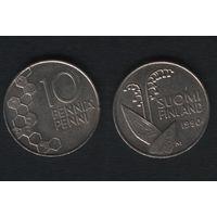 Финляндия km65 10 пенни 1990 год (M) (новый тип) CuNi цветы (f35)