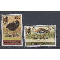 Фауна. Птицы. Сьерра Леоне. 1984. 2 марки с надпечатками (полная серия). Michel N 764-765 (14,0 е)
