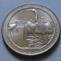 25 центов, квотер США, нац. парк Эверглейдс, штат Флорида, D