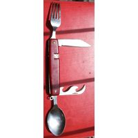 Походный набор. Нож, ложка, вилка, открывачка.