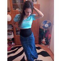 Джинсовая юбка для беременной барышни р.4244
