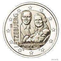 2 евро 2020 Люксембург Рождение Принца Чарльза UNC из ролла рельеф