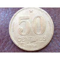 50 сентаво 1954 Бразилия ( Эурику Дутра )