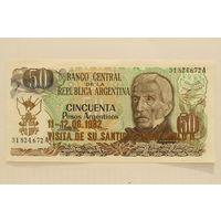 Аргентина, 50 песо (образца 1974-75 года, надпечатка 1982 года, UNC-)