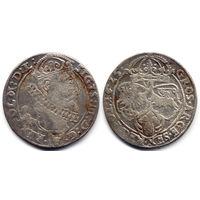 6 грошей (шостак) 1625, Сигизмунд III Ваза, Краков. Ав - вариант с гербом Пулкозиц, более редкий, R2!