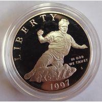 США 1 доллар 1997 года. Джеки Робинсон. Серебро. Пруф. Редкая!
