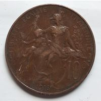 Франция 10 сантимов, 1916 звезда 3-12-23