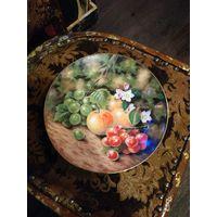 Смотрите все мои лоты! Много с рубля! Рождественский Аукцион лот: 143 Коллекционная Тарелка с Фруктами Англия, Костяной Фарфор без МЦ С рубля