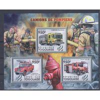 [1052] Того 2012. Пожарные автомобили.  МАЛЫЙ ЛИСТ+ БЛОК.