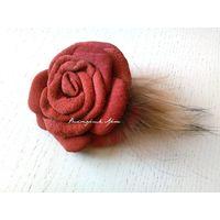 Замшевая роза - резинка для волос