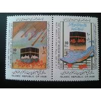 Иран 1988 Мекка, св. камень Кааба сцепка